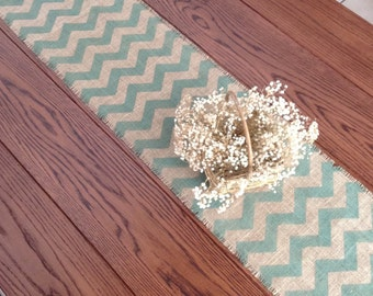 Rustic Burlap Table Runner Chevron Sage 10-14 x 72 and 84 Home Decor by sweet janes plan