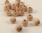 "50 Round Wooden Beads - 3/8"" or 10mm - Wood Beads"