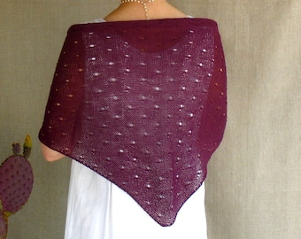 Shawl Scarf Knit in Plum Linen