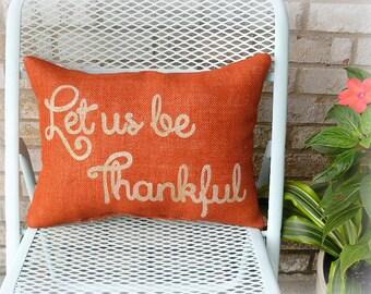 Burlap Pillow, Thanksgiving Decor