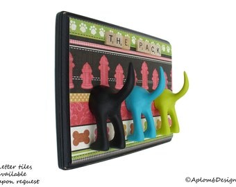 Dog Tail Leash Holder - Triple Where's the Fire - Customize with Optional Letter Tiles