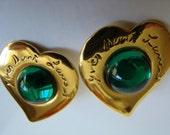 YSL Yves Saint Laurent  Green Heart Earrings