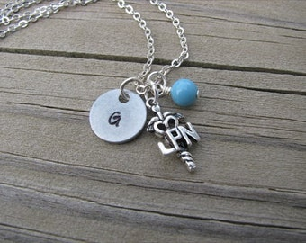 Nurse Necklace- LPN Necklace- Charm Necklace with LPN Charm, Initial, and an accent bead in your choice of colors