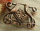 2 Love Bird Connector Charms, Antique Copper, Third Hole Drilled for Dangles or Drops, Victorian Style Bird Charms, 20.5 x 15.5mm