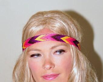 Chevron Headband Aztec Tribal Headband Hair Wrap Summer Headband Women Headband Yoga Headband Stretch Gift under 25