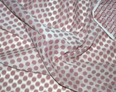 Jacquard cotton fabric with green polka dots on off white - One yard.