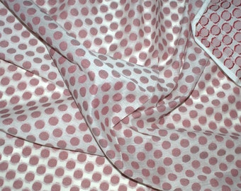 Jacquard cotton fabric with maroon polka dots on off white - One yard.