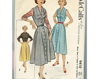 McCalls 9410 1950s Dress, Jumper, Skirt