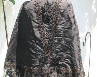 1800's Civil War Era Capelet, Beaded Shawl, Lace Mourning Cape