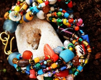 Multicolored beaded Bracelet,Masai chunky Beaded Bracelet,