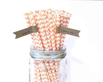 Peach Paper Straws, 100 Rustic Vintage Wedding Straws, Made in USA, Chevron Baby Shower Straws, Paper Goods, Table Setting, Princess Party