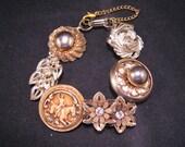 Vintage Earring Bracelet, Bridesmaid Gift, Upcycled, Gold, Flower, Rhinestone, Horse, Rider, Leaf, Jennifer Jones, Under 40 - Equestrian