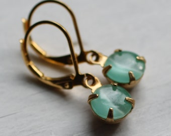 Seafoam Moonstone Earrings ... Turquoise Opal Earrings in Aqua Marbled Glow