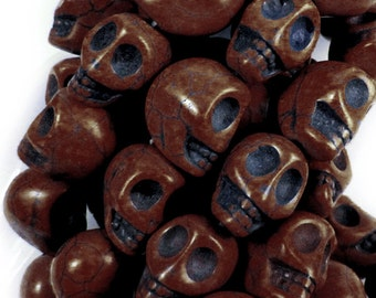 Brown Turquoise Howlite, 12 mm, Skull Beads, Qty: 10