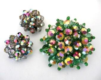 Vintage Beaded Jewelry Set - Ab Watermelon Crystal Bead Brooch w/ LAGUNA Cluster Earrings