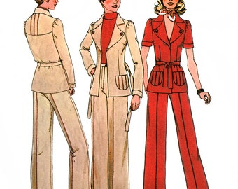 Simplicity 6772 Vintage 70s Misses' Unlined Jacket and Pants Sewing Pattern - Uncut - Size 10 - Bust 32.5