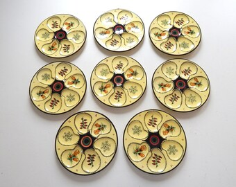 8 French Vintage Quimper Oyster Plates Handpainted