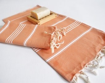SALE 50 OFF/ SET 2 Towels / Head and Hand Towel / Classic Style / Pale Orange - White striped