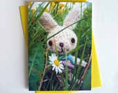 Cute card with crochet rabbit