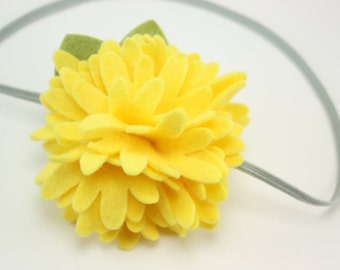 Baby Headbands - Yellow Felt Flower Headband - Newborn Baby Girl to Adult