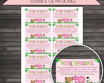 Girl Safari Jungle Baby Shower Book Request Card   Girl Baby Shower  Printable   Instant Download