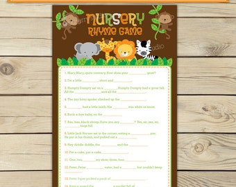 Safari Baby Shower Nursery Rhyme Game Printable - Jungle Baby Shower Nursery Rhyme Quiz - Instant Download - Jungle Baby Shower Games