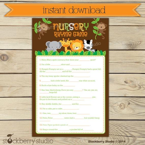baby shower nursery rhyme game printable jungle baby shower nursery