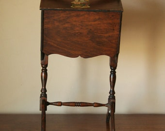 Wooden Sewing Basket Stand - Country Cottage Decor - Craft Supplies Storage Cabinet - Yarn Holder