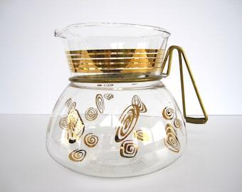 Vintage Glass Carafe Coffee Server Pot Atomic Gold Swirls Jet O Matic