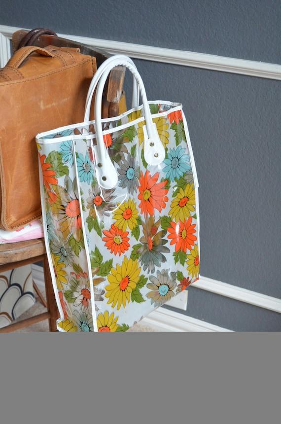 Vintage Floral Tote Shopping Bag Orange Yellow Green White