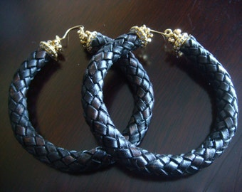 ORIGINAL - UNIQUE  Black/Dark Brown Genuine Braid Rope Style Hoop with Gold Bali and Crystal Accents