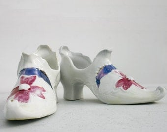 Pretty Porcelain Shoes Rococo style Bisqueware China 1900s Cinderella slippers