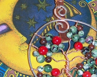 Tree of Life Necklace, Copper and Steel Apple Tree, Tree Agate, Jasper, Ruby Zoisite