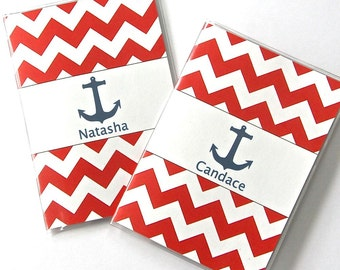 Personalized Pair of Passport Covers - Great Gift for a Travelers or Honeymoon  - Red, White and Blue Nautical Chevron with Anchor and Name