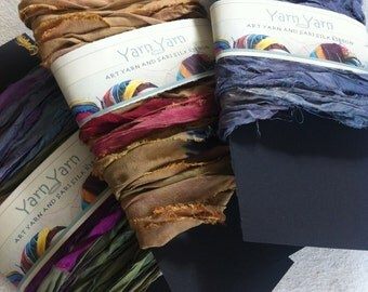 Sari silk ribbon, any THREE 10 yards pack of your choice. Craft ribbon for crafts and jewelry making and other textile and fiber art works.