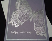 Butterfly Card, silver embossed- birthday or anniversary