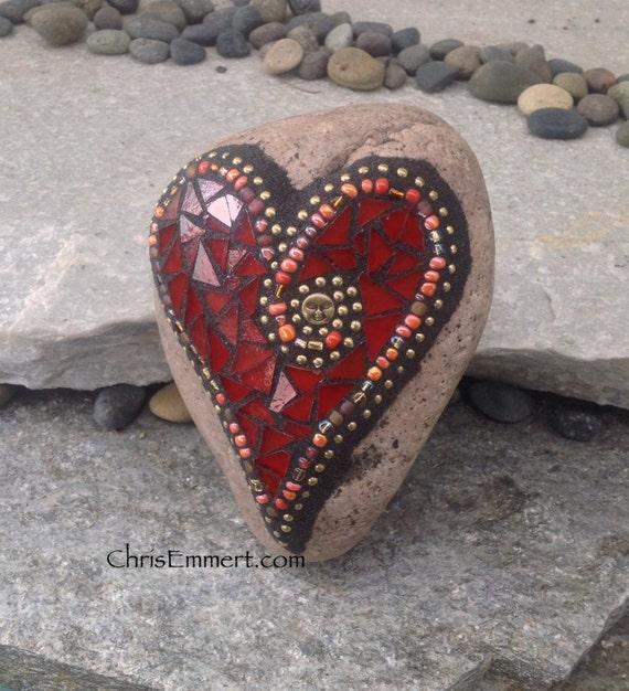 Mosaic Garden Stones: Red And Gold Heart Mosaic Rock Paperweight / Garden Stone