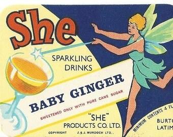 She Baby Ginger Vintage Label, 1940s