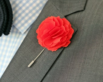 Coral Red Carnation Flower,lapel boutonniere, mens lapel pin, lapel flower