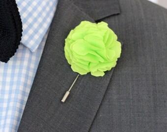 Oscar Wilde green Carnation lapel flower, Linen Flower pin, mens boutonniere, mens lapel pin,