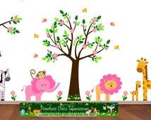 Jungle Decal, Nusery Safari Sticker Tree, Zebra, Elephant, Monkey, Lion Decal, Pink Wall Art Decor, Zoo Animal Decal, Jungle Land-s1p