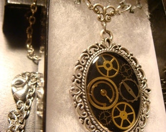 Victorian Style Steampunk Necklace with Watch Part Gears (1269)