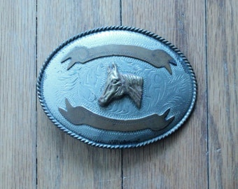 Vintage 50's/60's Alpaca Mexico Etched Silver and Brass Horse Head Belt Buckle