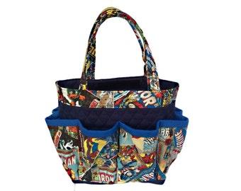 Marvel Comics Bingo Bag // Craft Organizer // Makeup Organizer // Caddy // Teacher Tote // Nurse Tote