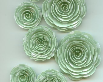 Mint with White Polka Dots Handmade Spiral Rose Paper Flowers