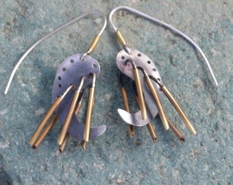 """Sterling Silver """"Mechanical Alien Pupa""""and Brass Earrings"""