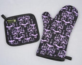 Oven Mitt and Pot Holder Purple and Black Haunted Chandelier Sets/Singles