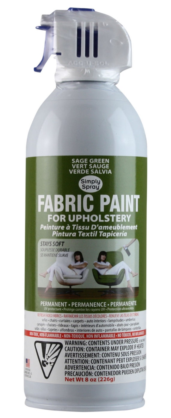 Simply Spray Upholstery Fabric Spray Paint Dries Soft Permanent Sage Green 6 Pack From