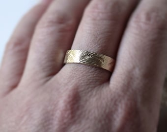 Crash Ring - Rustic Men's Wedding Band 6mm Wide Rough 10k Recycled Hand Carved Yellow Eco Gold Ring -   Made in Your Size
