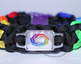 RECTANGLE Autistic Self Advocacy Network ASAN Charm and Rainbow Acceptance Ribbon 550 Paracord Survival Strap Bracelet Anklet with Buckle